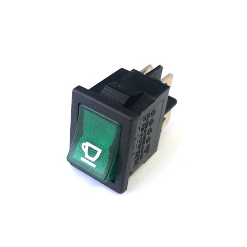 "Green Illuminated DPST Switch ""Coffee"" - 21x15 mm - 16A 250V"
