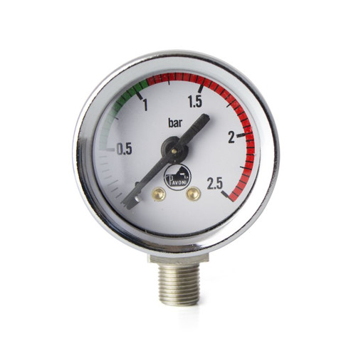 "Boiler Pressure Gauge / Manometer - White Face - Chrome - OD 44mm 1/8"" BSPM Connection - PAVONI"
