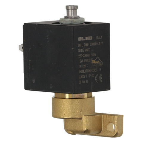3-Way Solenoid Valve 90 DEGREE Flat Base - 7mm barbed outlet - 230V - 15VA - 8000/3 - OLAB