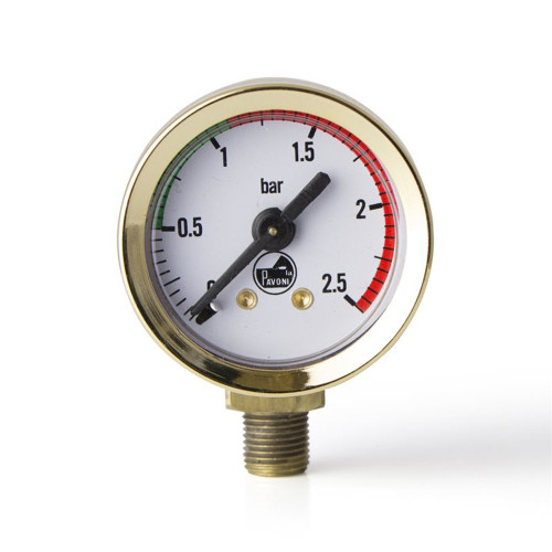 "Boiler Pressure Gauge / Manometer - White Face - Brass - OD 44mm 1/8"" BSPM Connection - PAVONI"