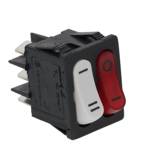 Switch (2x circuits) - SPST RED Illuminated O-I - SPDT White I-II - 16A 250V - 22x30mm - MIGNON - PAVONI