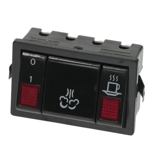 "Switch Module Black - ""I/O"" / ""STEAM"" / ""COFFEE"" - 65x43 mm - 16A 250V - GAGGIA CLASSIC"