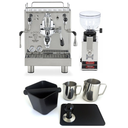 BEZZERA MAGICA e61 2L Espresso Coffee Machine - LELIT FRED Doser-less Coffee Grinder - Combo - With Accessory Package