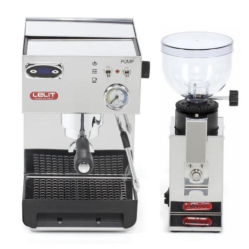 LELIT PL41TEM Espresso Coffee Machine and LELIT PL043MMIN Doser-less Coffee Grinder Combo