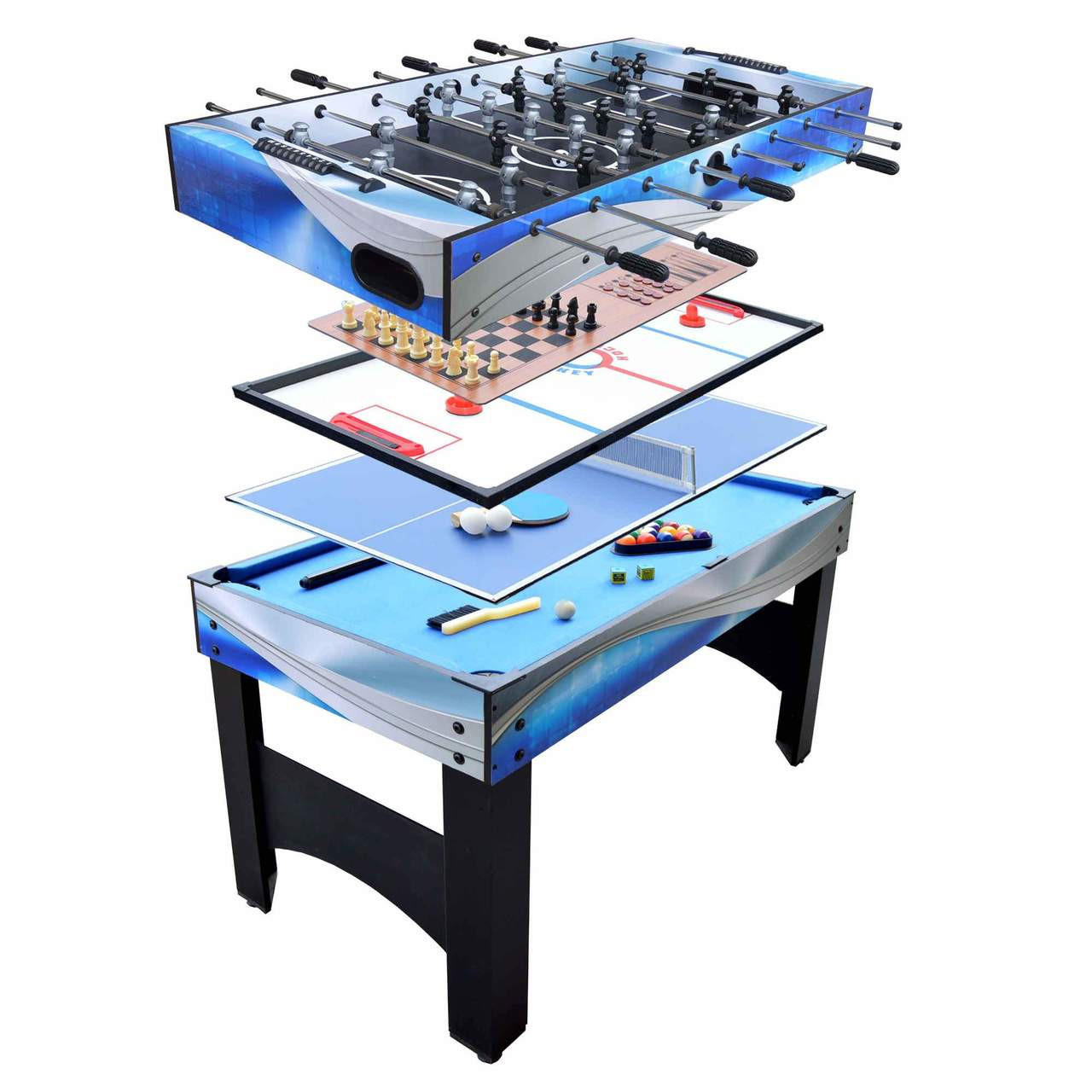 Matrix 54-In 7-in-1 Multi Game Table with Foosball, Pool, Glide Hockey, Table Tennis, Chess, Checkers and Backgammon  FO-1080