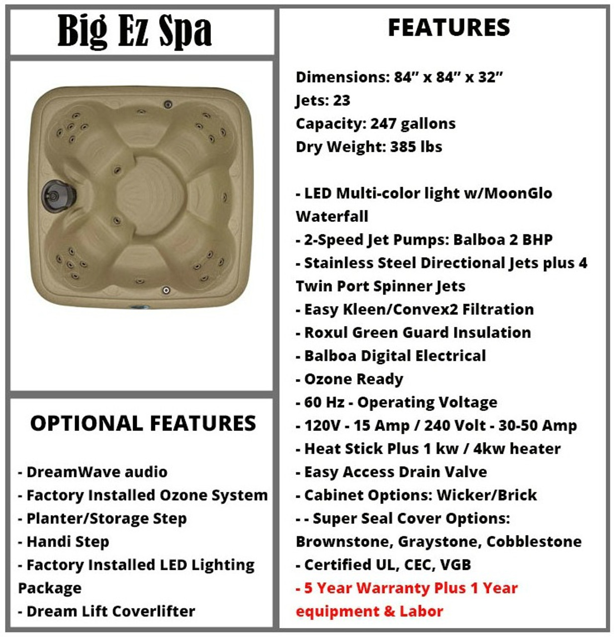 Big EZ Spa Spec Sheet