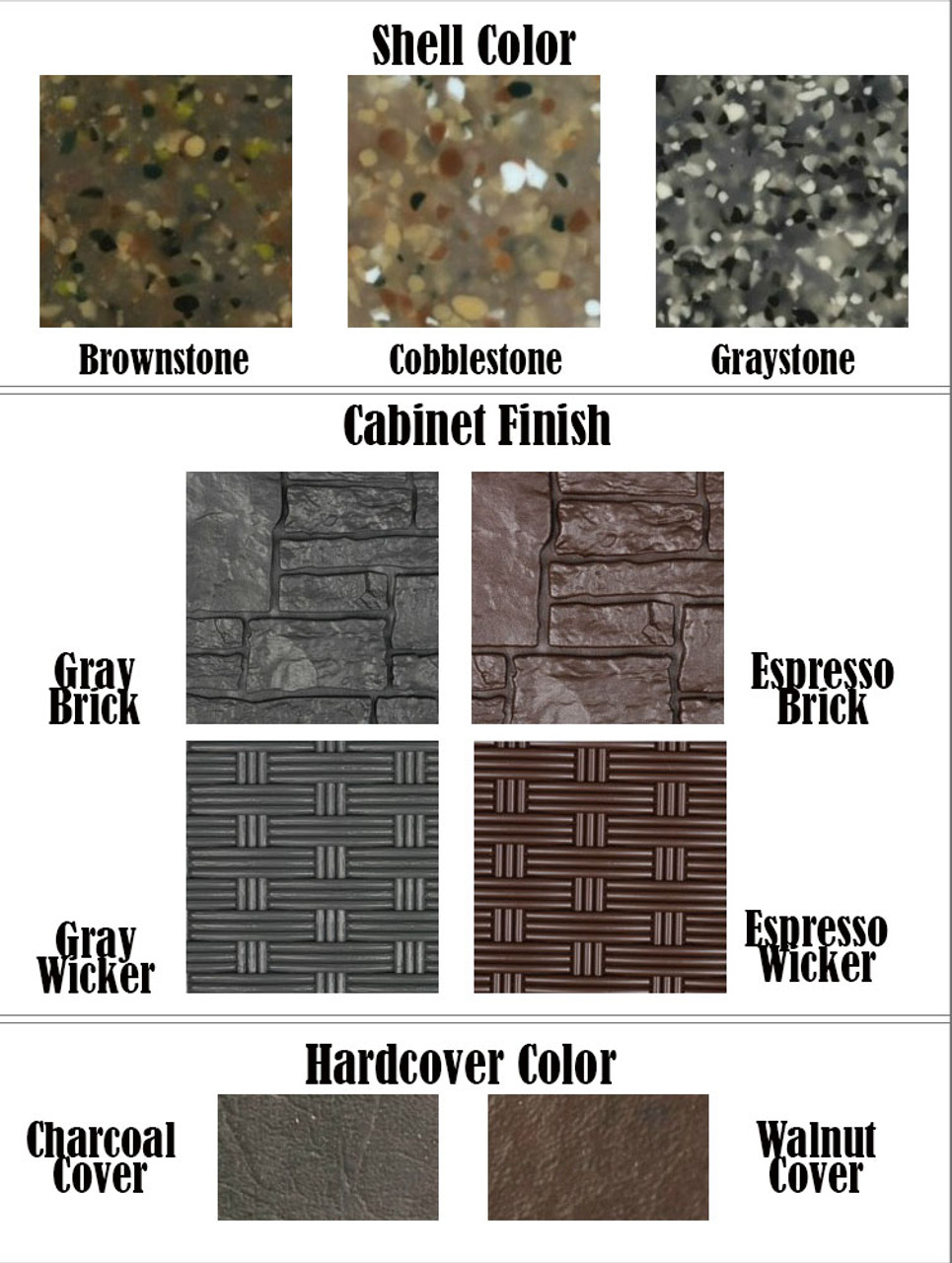Big EZ Spa Cabinet Finishes & Shell Color Options