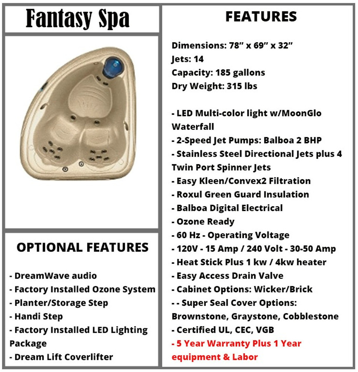 Fantasy Spa Spec Sheet