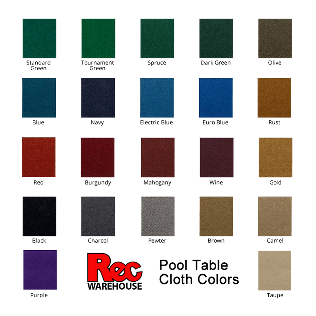Lincoln Pool Table Cloth Color Options