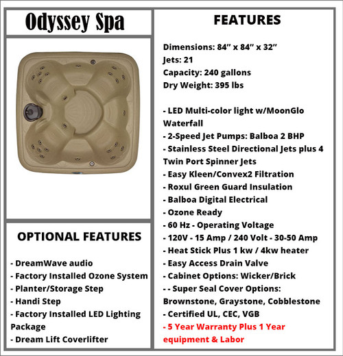 Odyssey Spa Spec Sheet