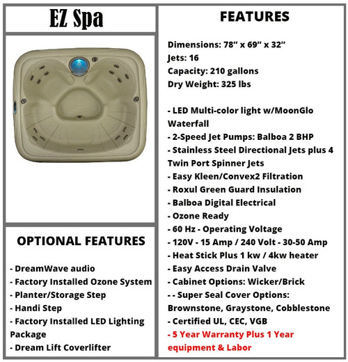 EZ Spa Spec Sheet