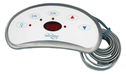 6600-832 Sundance Spaside Control, LX-15 Sweetwater, 5-Button, LED, light-Pump1-Pump2-Down-Up