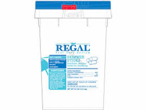 Regal, 50 lb, 8oz, Skimmer, Sticks, chlorine, FREE SHIPPING, Compressed, .5lb, slow dissolving, 90%, available chlorine, stabilized, Trichloroisocyanuric acid, Trichlor, 12001597