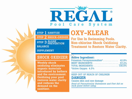 REGAL , (12 PACK), (4 PACK), 1lb, Bag, OXY-KLEAR, Non-Chlorine, Shock, swimming, pool, Treatment, FREE SHIPPING, super, ultra, peroxymonosulphate, Pentapotassium, lithium, 25lb, 10lb, 15lb, 50-1924, 50-1925, hth, biolab, bioguard