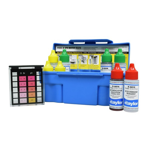 6-Way ,Test, Kit, for, Free Chlorine, Total Chlorine, Bromine, pH, (acid demand), Alkalinity ,(DPD), Taylor Technology, swimming pool