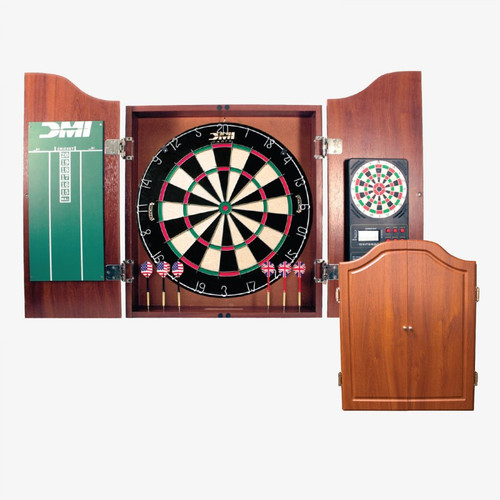 "Electronic, Scoring, Dartboard, Cabinet, w/, Steel, Tip, Darts, FREE SHIPPING, Cherry, Finish, DMI, 18"", chalk, scoring, scorers, game room, man, cave, CABSETCH"
