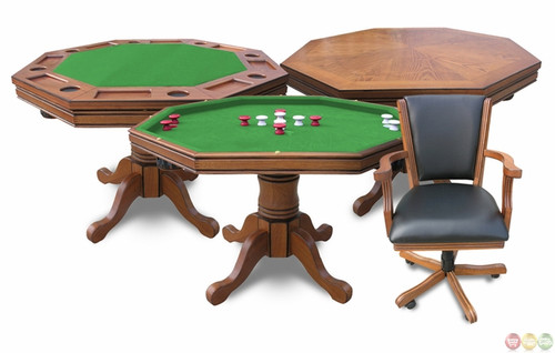 NG2351, Kingston, Oak, 3-in-1, Poker, bumper, dining, Table, 4, Arm Chairs, FREE SHIPPING, Hathaway, Blue Wave