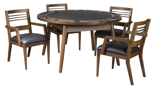 "5pc, Collins, Legacy, Heritage, 54"", Game, 2in1, Poker, Dining, Table,  chair, 3 Finish Options, FREE SHIPPING, 102450, 102451, 102453, Graphite, black, Walnut shade"