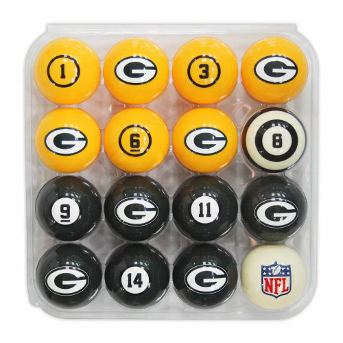 626-1001, GB, Green Bay, Packers, Pool, Billiard, Balls, Numbered, Free Shipping, nine ball, eight ball