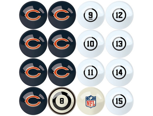 626-1019, Chicago, Bears, NFL,  Billiard, Pool,  Balls, Numbered, with Numbers, FREE SHIPPING