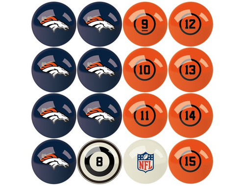 626-1003, Denver Patriots, NFL,  Billiard, Pool,  Balls, Numbered, with Numbers, FREE SHIPPING