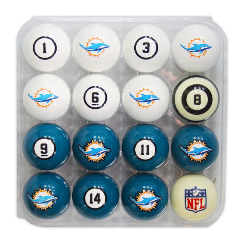 626-1008, Miami, Dolphins, NFL,  Billiard, Pool,  Balls, Numbered, with Numbers, FREE SHIPPING