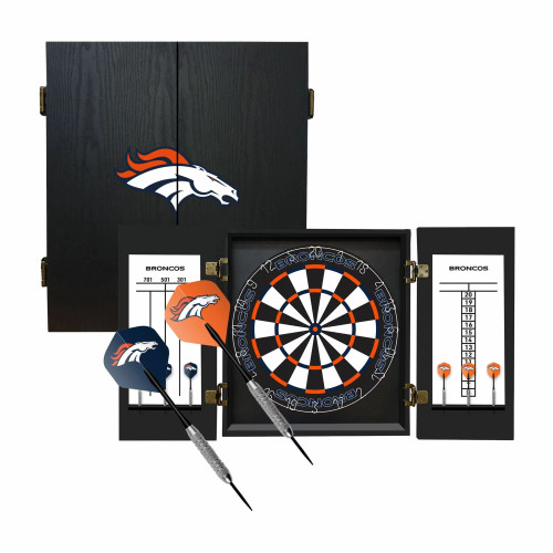 624-1003, Denver Broncos, Fan's Choice, Dartboard, Cabinet, Darts, Flights, Set, FREE SHIPPING,