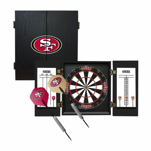 624-1005, SF, San Francisco, 49ers,, Fan's Choice, Dartboard, Cabinet, Darts, Flights, Set, FREE SHIPPING,