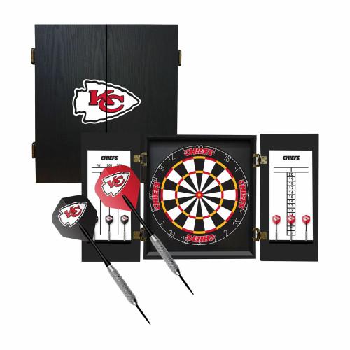 624-1006, KC, Kansas City, Chiefs, Fan's Choice, Dartboard, Cabinet, Darts, Flights, Set, FREE SHIPPING,