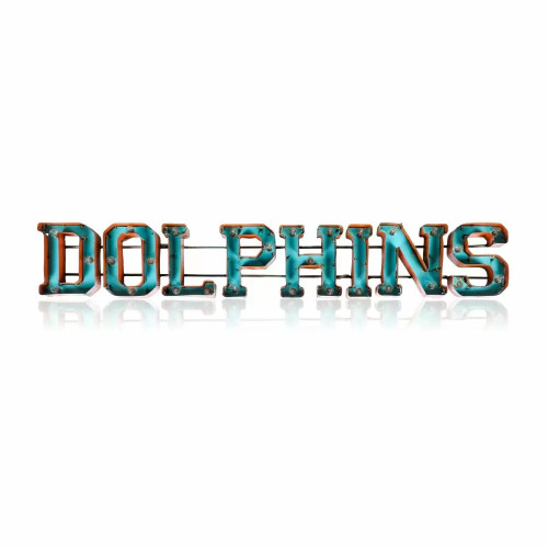546-1008, Miami, Dolphins, NFL,  4', Lighted, Recycled, Metal, Sign, FREE SHIPPING, 546-1008