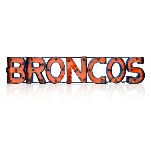 546-1003, Denver, Broncos, NFL,  4', Lighted, Recycled, Metal, Sign, FREE SHIPPING, 546-1003