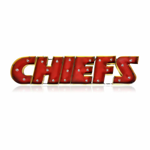 546-1006, KC, Kansas City, Chiefs, NFL,  4', Lighted, Recycled, Metal, Sign, FREE SHIPPING, 546-1006