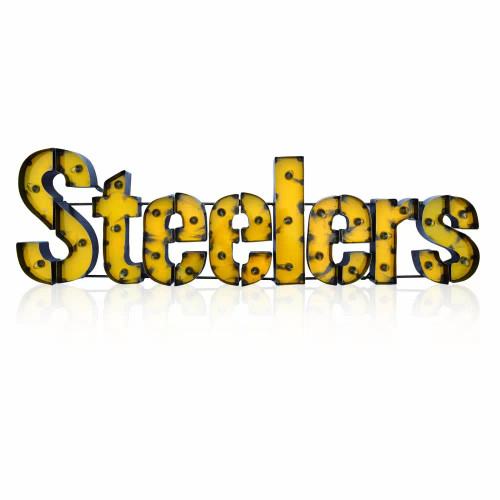 546-1004, Pittsburgh, Steelers, NFL, Team, 4', Lighted, Recycled, Metal Sign
