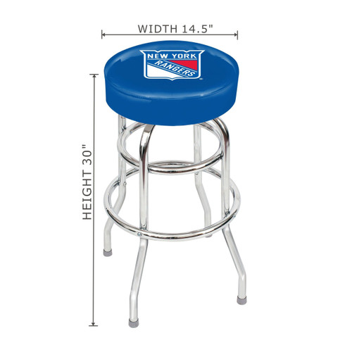 "61-5006, NY, New York, Rangers, 30"", Chrome, Bar, Stool, NHL"