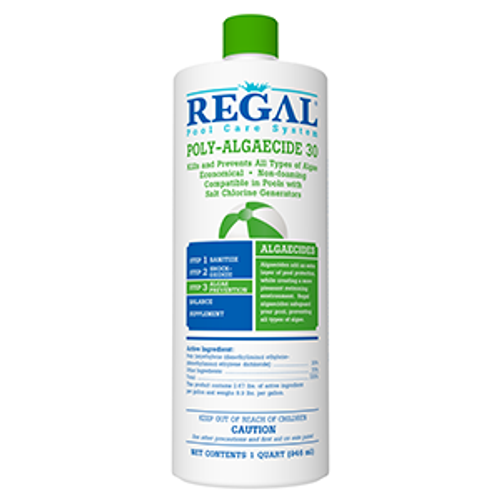 Qt, Regal, bioguard, in the swim, swimming pool, Algaecide, Poly 30, preventative, 035186202726, 50-2630, algae, black, green, mustard