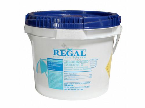 "Regal, 25, LB, Bucket, of, 3"", Slow, Dissolving, Chlorine, Tablets, tabs, pucks, swimming, pool, Trichloro-s-triazinetrione, Trichlor, 035186202351,12001573"