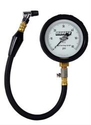 Moroso- Tire Gauge, 4 in. Diameter, 0-60 psi, 15 1/ 2 in. Hose, Stop Valve, Storage Case, Kit