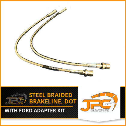 JPC- DOT Braided Stainless Steel Brake Line & Ford Adaptor Fitting Kit -3an