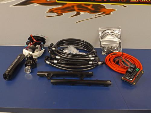 JPC- 2011-2014 Mustang GT Return Style Fuel System (1400 HP) w/ Rails - Black ASSEMBLED PTFE