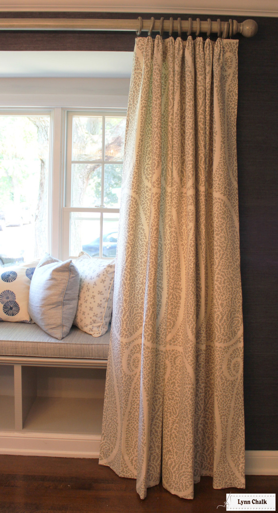 window seat curtains window seating window seat cushions and pillows groundworks kasa in blue christopher farr pollen smoke blue