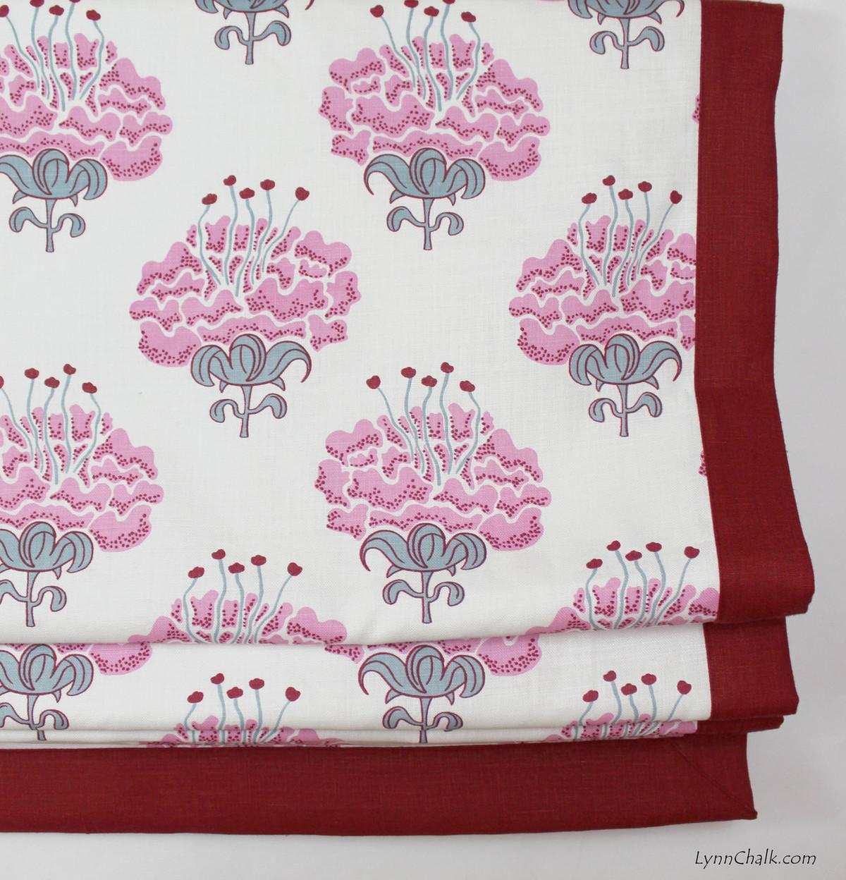 ... Wallpaper Raspberry · Katie Ridder Peony in Raspberry with Kravet Dublin Linen Lipstick Red Border ...