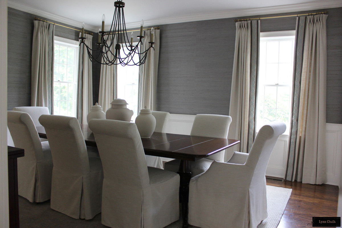 Dining Room Featuring Linen Drapes With Border And Trim