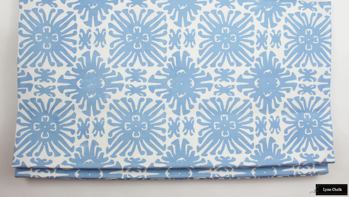 ... Quadrille Sigourney Small Scale French Blue on White Roman Shade