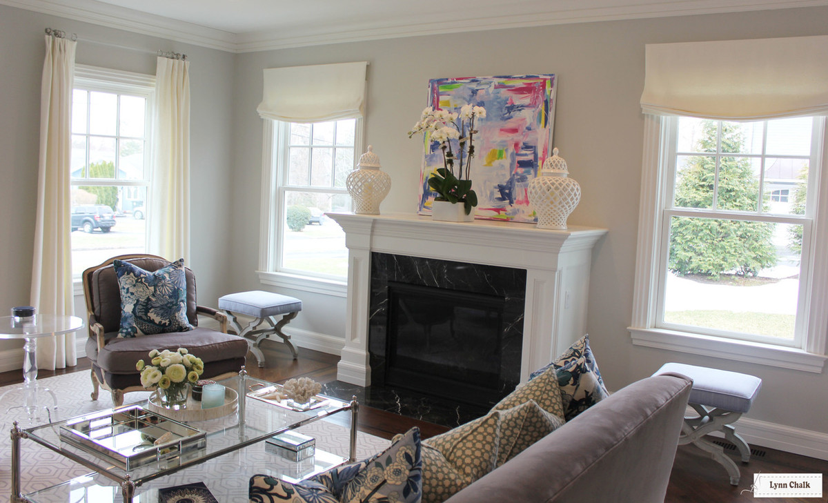 Relaxed Roman Shades and Drapes in Living Room (shown in Off-White  Linen-lots of color options)