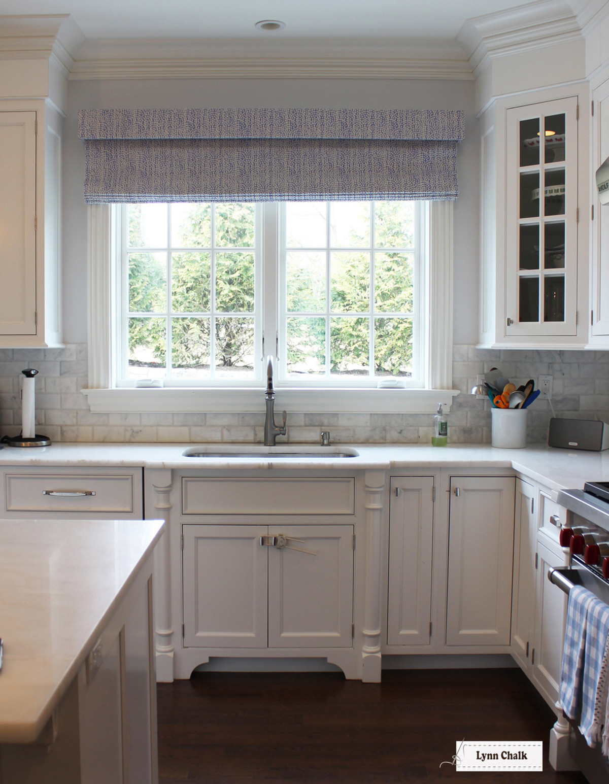 Quadrille Alan Campbell Mojave Roman Shades in Kitchen (shown in  Periwinkle-comes on other colors)