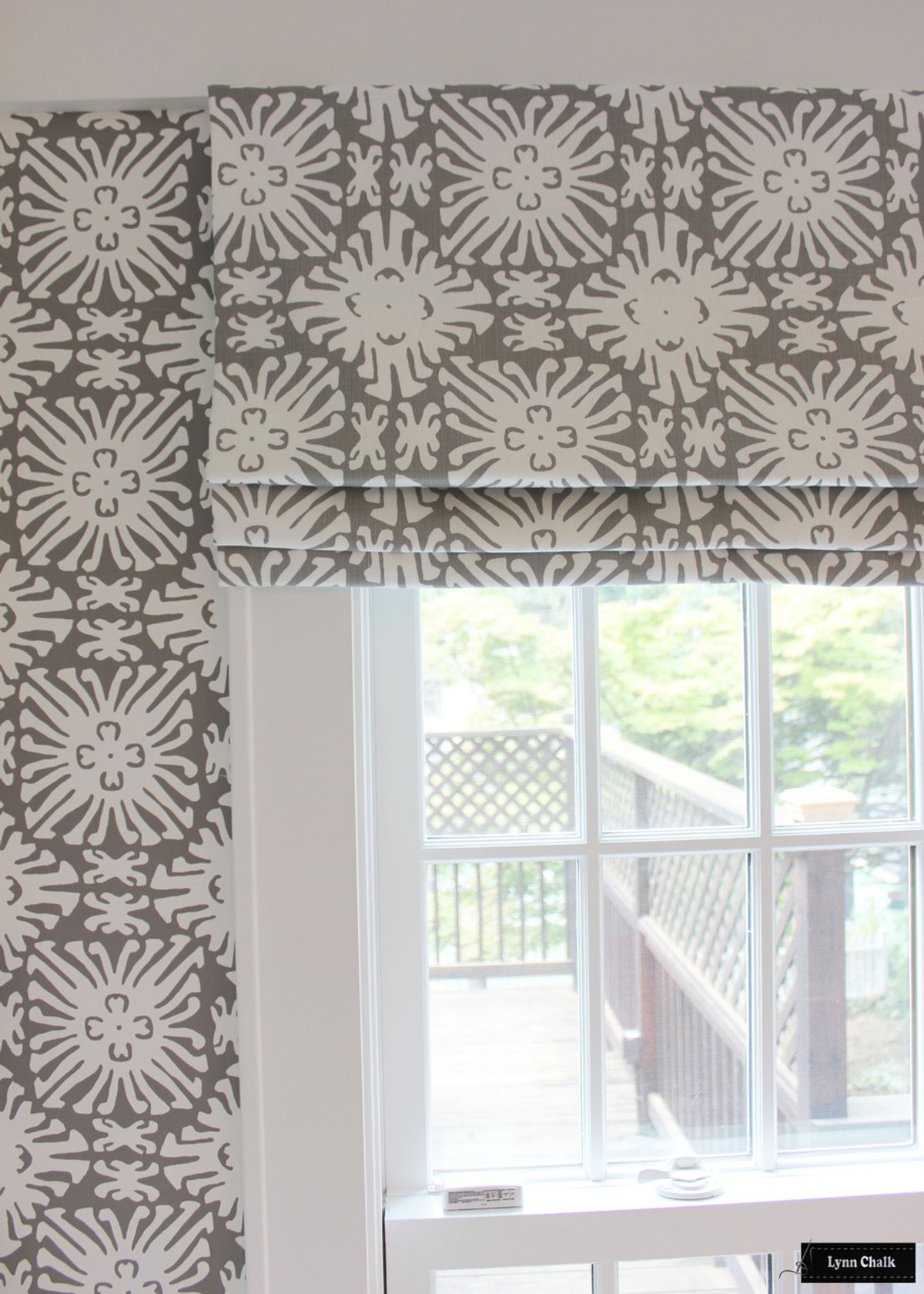 ... Quadrille Sigourney Reverse Grey on White Small Scale Roman Shade and Matching Wallpaper ...