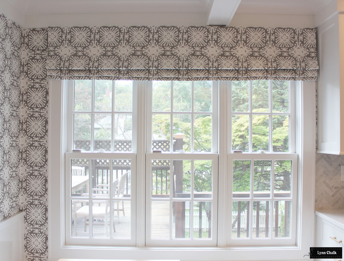 Quadrille Sigourney Reverse Grey on White Small Scale Roman Shade and Matching Wallpaper ...