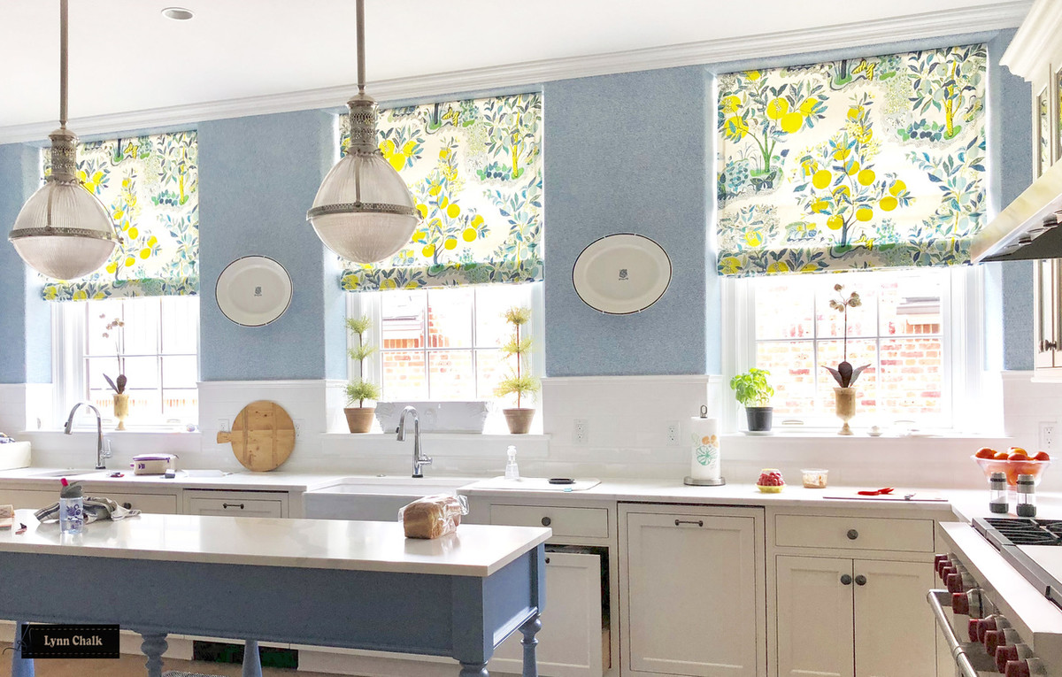 Schumacher Citrus Garden Custom Kitchen Roman Shades (shown in Pool-also  comes in Primary)