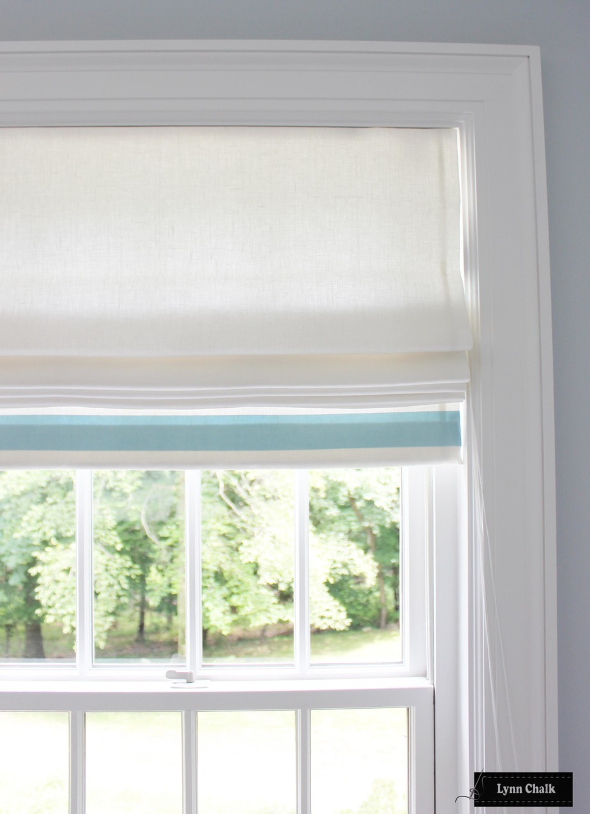 Roman Shades White Linen With Trim On Sides And Bottom Shown In Samuel And Son Grosgrain Ribbon Trim In Lilac