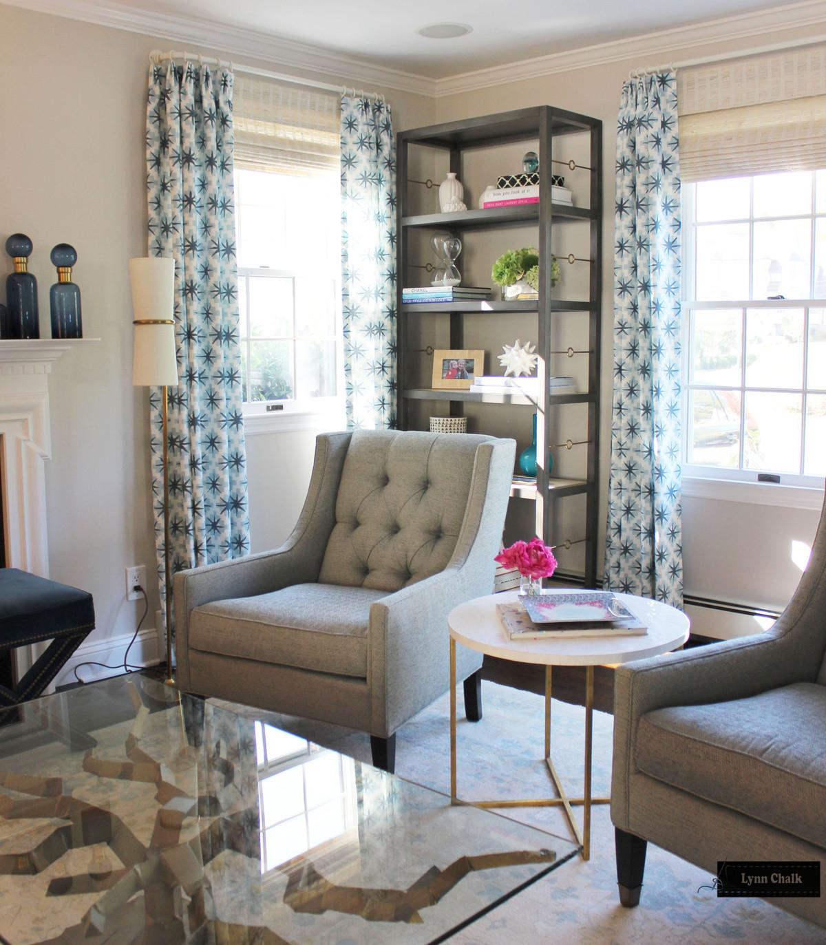 Peter Dunham Starburst Custom Drapes In Living Room